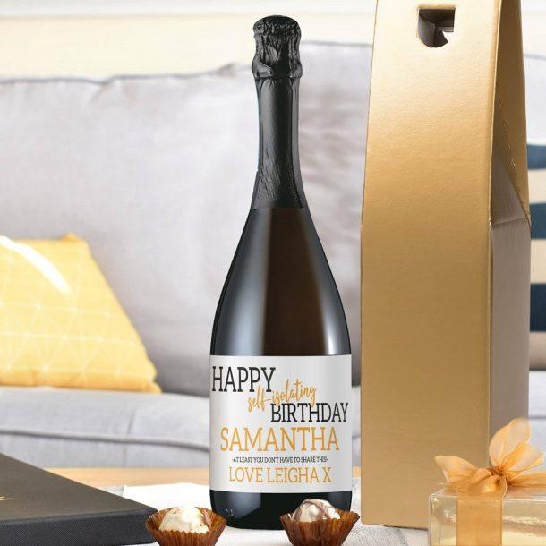 Personalised Happy 'Self Isolating' Birthday Prosecco