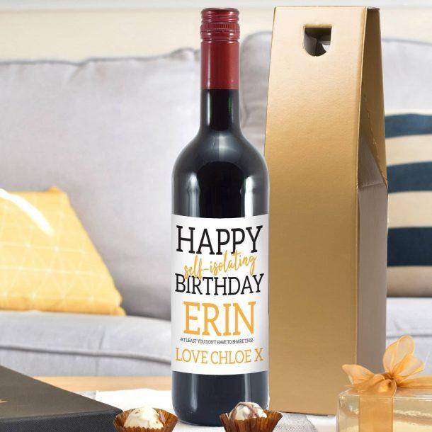 Personalised Happy 'Self Isolating' Birthday Red Wine