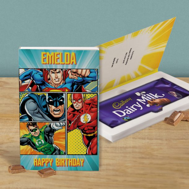 Personalised Justice League Cadbury's Chocolate Bar Card