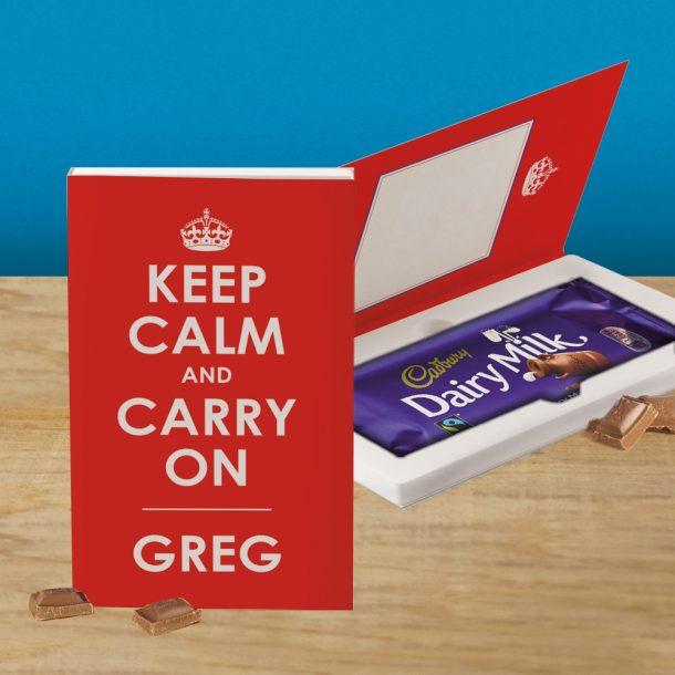 Personalised Keep Calm & Carry On Cadbury's Chocolate Bar Card