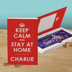 Personalised Keep Calm & Stay Home Chocolate Bar Card