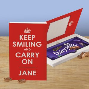 Personalised Keep Smiling & Carry On Cadbury's Chocolate Bar Card