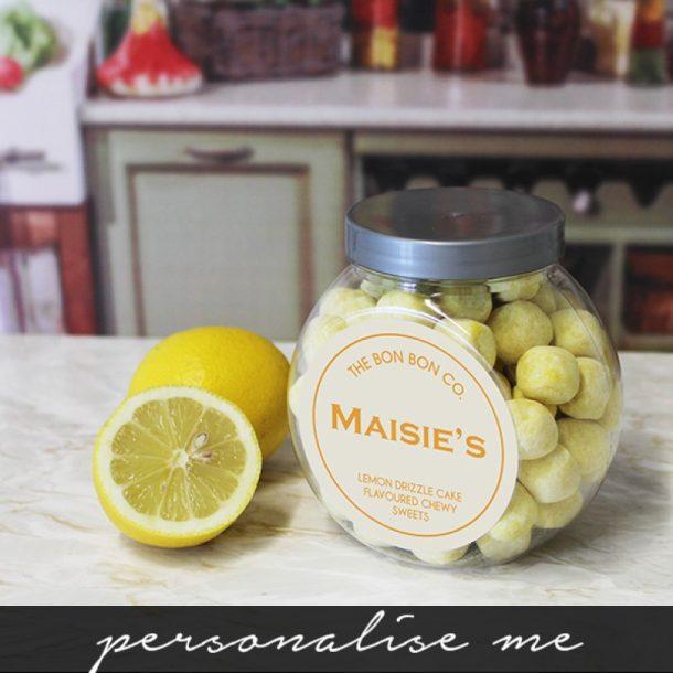 Personalised Lemon Drizzle Cake Bon Bons Sweet Jar