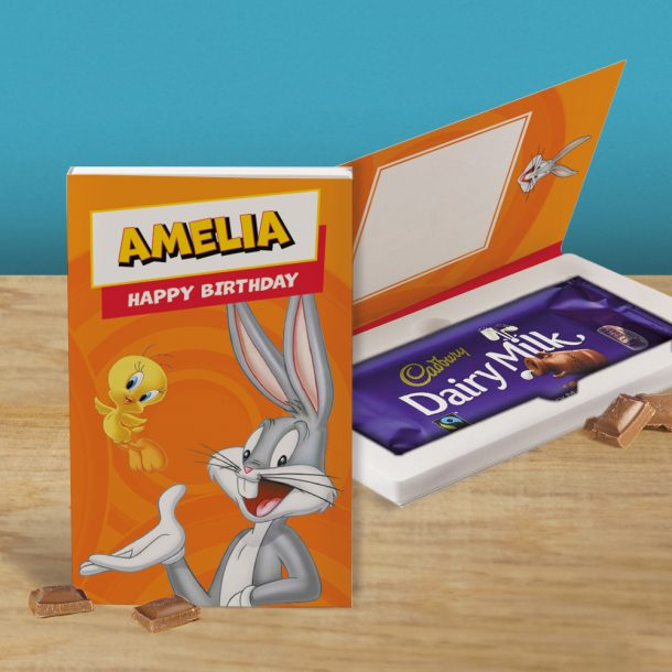 Personalised Looney Tunes Cadbury's Chocolate Bar Card