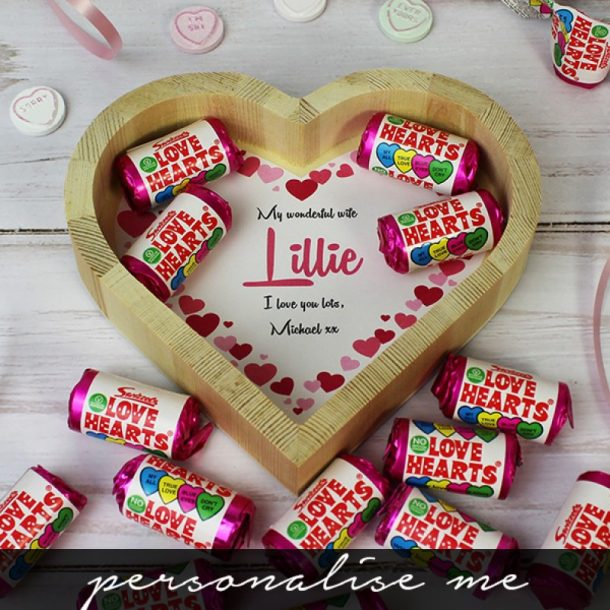 Personalised Love Hearts Wooden Tray