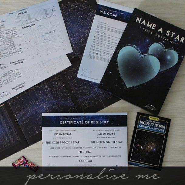 Personalised Lovers Name A Star Gift Set