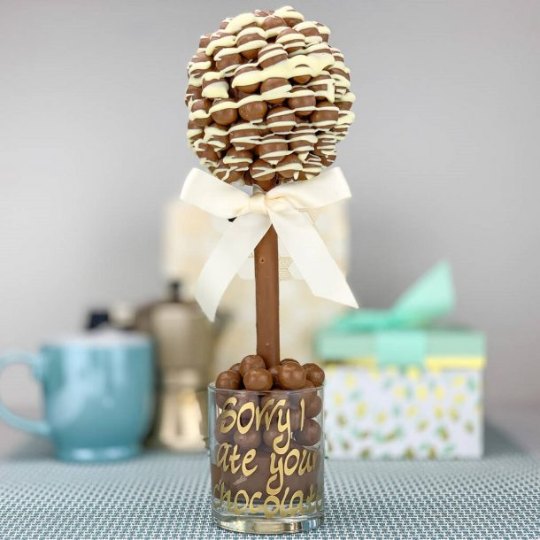 Personalised Malteser White Chocolate Drizzle Sweet Trees