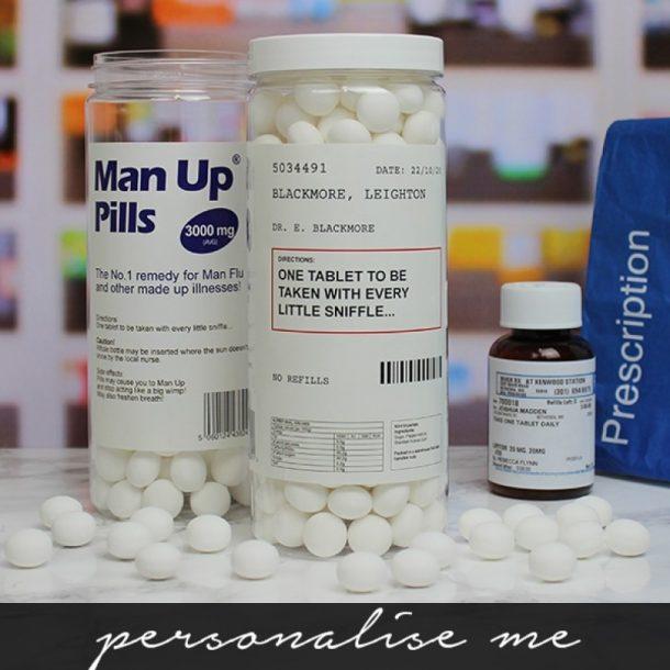 Personalised Man Up Pills Sweet Jar
