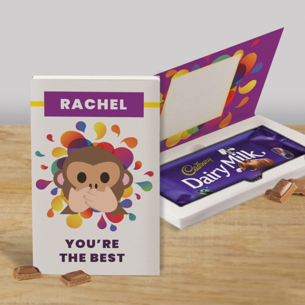 Personalised Monkey You're the Best Cadbury's Chocolate Bar Card