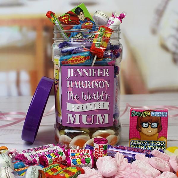 Personalised Mums Retro Sweet Jar