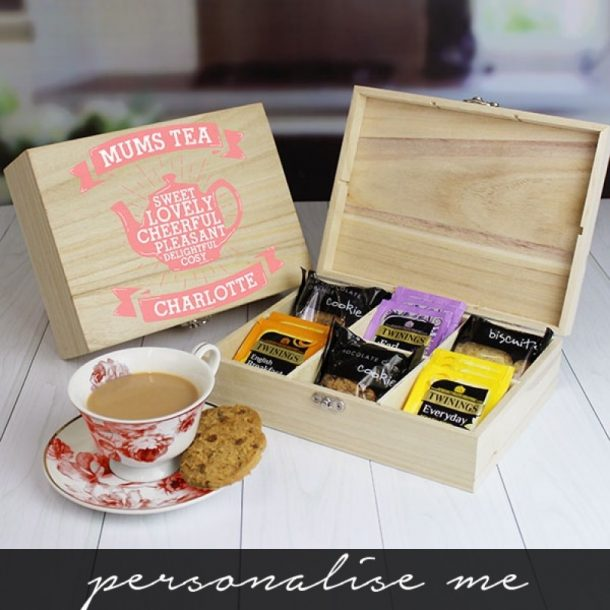 Personalised Mums Wooden Tea Chest - Tea & Biscuits