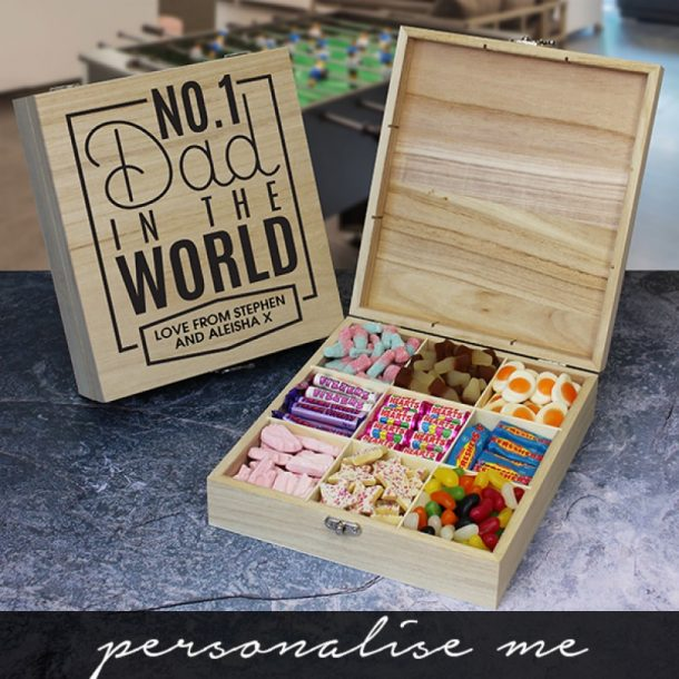 Personalised No 1 Dad Wooden Sweet Box