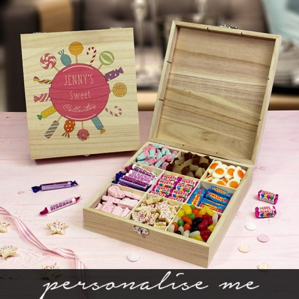 Personalised Pink Collection Wooden Sweet Box