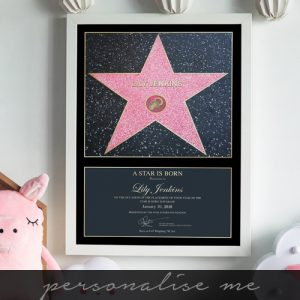 Personalised Pink Star Is Born Framed Print