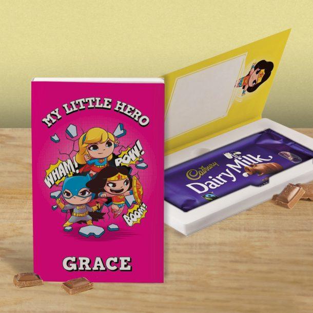 Personalised Pink Super Hero Cadbury's Chocolate Bar Card