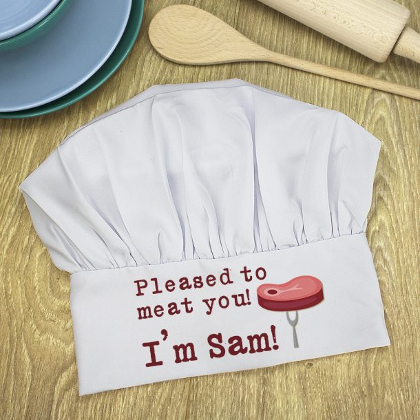 Personalised Pleased To Meat You Chef Hat