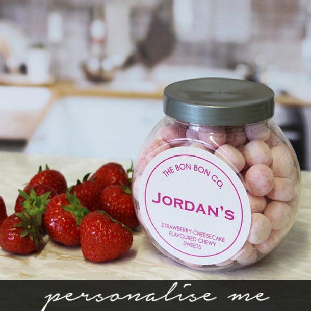 Personalised Strawberry Cheesecake Bon Bons Sweet Jar