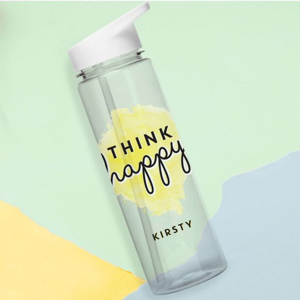 Personalised Think Happy Water Bottle