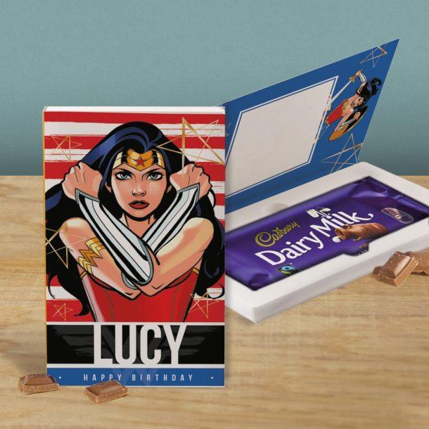 Personalised Wonder Woman Cadbury's Chocolate Bar Card