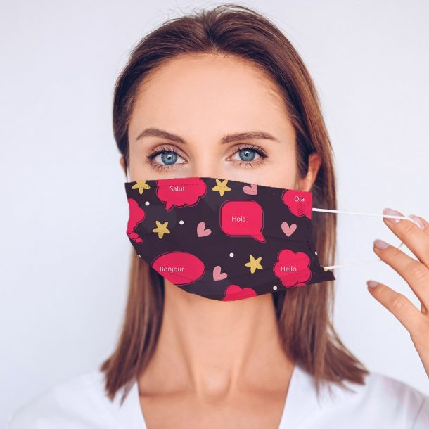 Pink Hello World Printed Face Mask