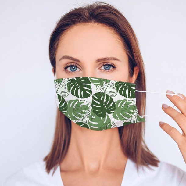 Tropical Leaf Printed Face Mask