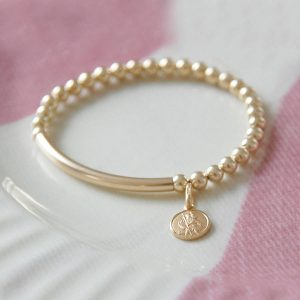 Gold St Christopher Baby Bracelet & Personalised gift Box