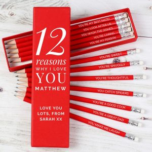 Personalised 12 Reasons Why I Love You Box & 12 Red Pencils