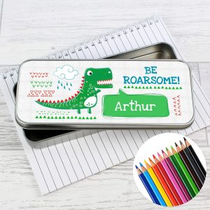 Personalised 'Be Roarsome' Dinosaur Pencil Tin & Pencil Crayons