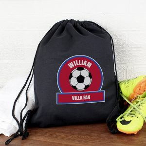 Personalised Claret & Blue Football Fan Kit Bag