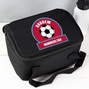 Personalised Claret & Blue Football Fan Lunch Bag