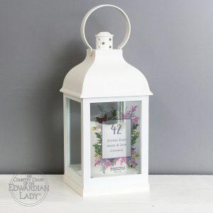 Personalised Country Diary Botanical White Lantern