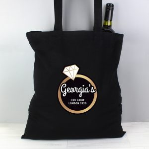 Personalised Gold Ring Hen Party Black Cotton Bag