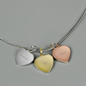Personalised Gold, Rose Gold and Silver 3 Hearts Necklace