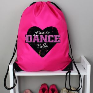 Personalised 'Live to Dance' Pink Kit Bag