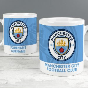 Personalised Manchester City FC Bold Crest Mug