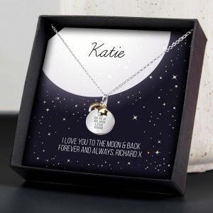 Personalised Sentiment Moon & Stars Sterling Silver Necklace & Box