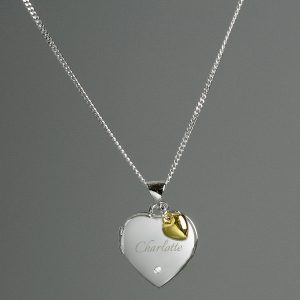 Personalised Silver Heart Locket Necklace & 9ct Gold Charm