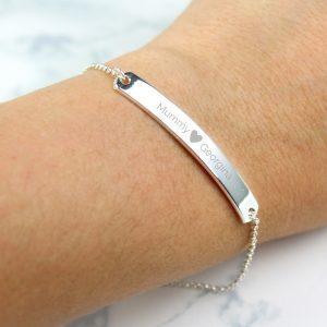 Personalised Silver Tone Heart Bar Bracelet