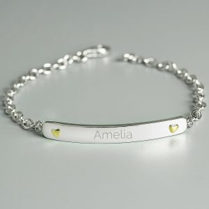Personalised Sterling Silver & 9ct Gold Bar Bracelet