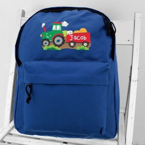 Personalised TrPersonalised Tractor Blue Backpackactor Blue Backpack