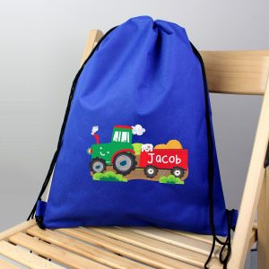 Personalised Tractor Blue Kit Bag