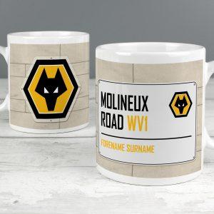 Personalised Wolves Street Sign Mug