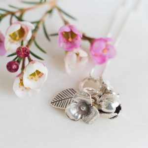 Sterling Silver Flower Bouquet Necklace & Personalised gift Box