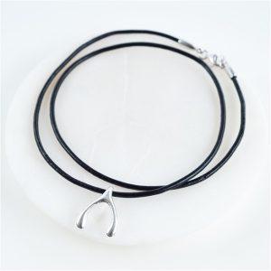 Wishbone Leather Necklace & Personalised Gift Box