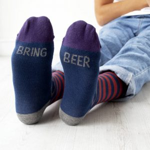Bring Beer Patterned Slogan Socks