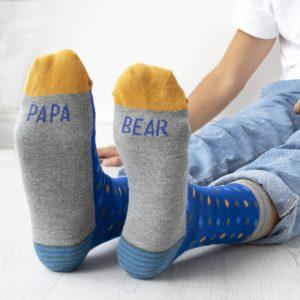 Papa Bear Patterned Slogan Men's Socks
