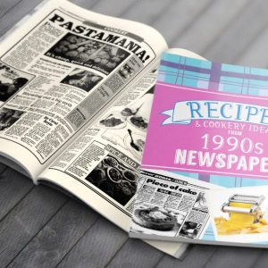 Personalised 1990's Newspaper Recipe Softback Book