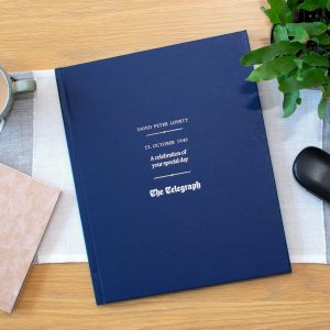 Personalised Blue Daily Telegraph Birthday Newspaper Book