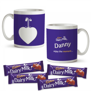Personalised Cadbury Dairy Milk Mug & 4 Dairy Milk Bars