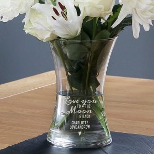 Personalised Love You To The Moon & Back Glass Vase
